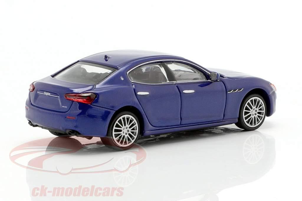 Maserati Ghibli Opførselsår 2018 mørkeblå metallisk 1:87 Minichamps