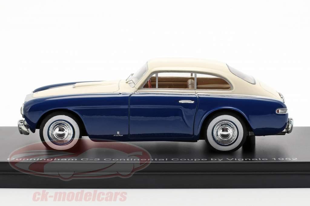Cunningham C3 Continental Coupe Opførselsår 1952 blå / hvid 1:43 Neo
