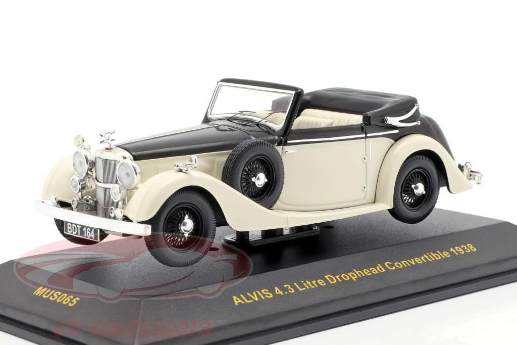 Alvis 4.3 ltr Drophead converteerbaar Bouwjaar 1938 wit / zwart 1:43 Ixo
