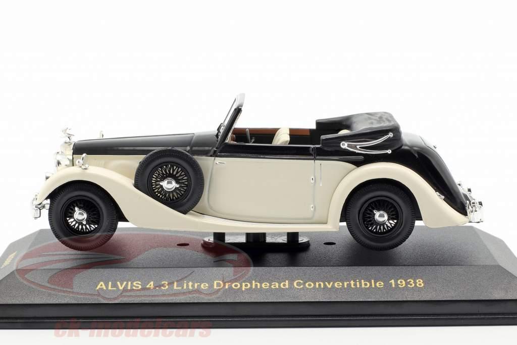 Alvis 4.3 ltr Drophead convertible año de construcción 1938 blanco / negro 1:43 Ixo