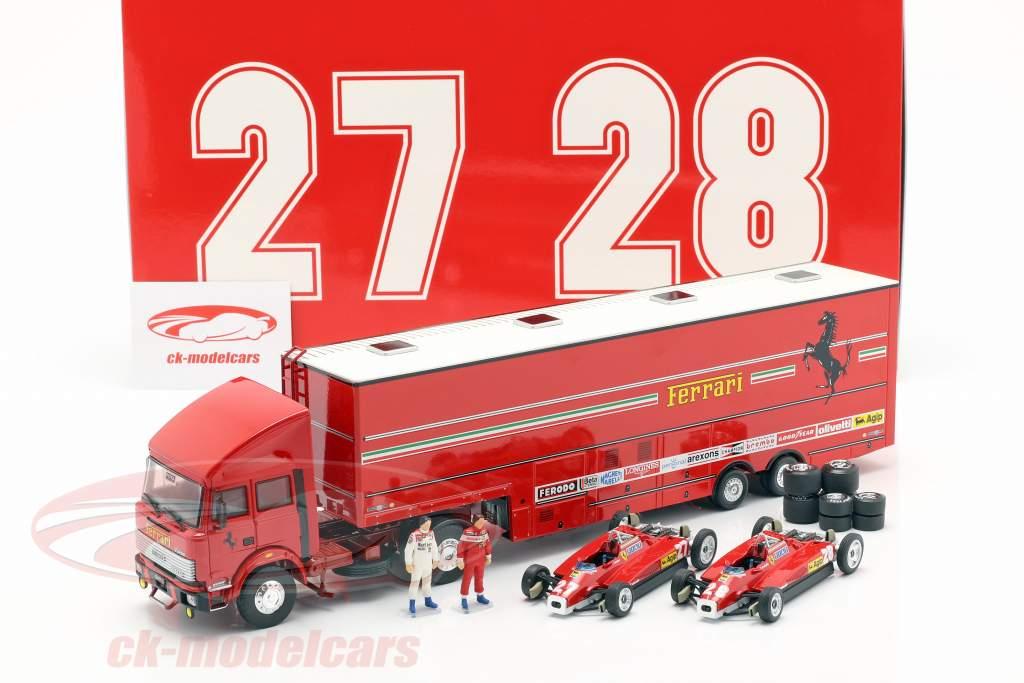 Set raza transportador Fiat Iveco 190 con 2x Ferrari 126C2 #27 & #28 Monza GP F1 1982 1:43 Brumm