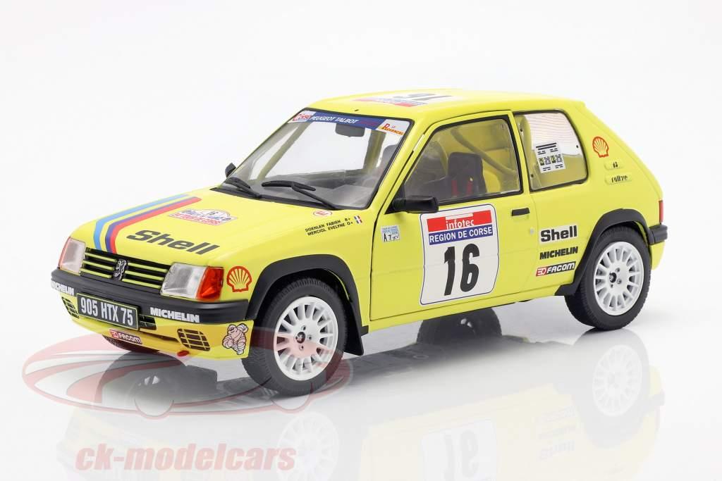 Peugeot 205 Rallye #16 Rallye Tour de Corse 1990 Doenlen, Merciol 1:18 Solido