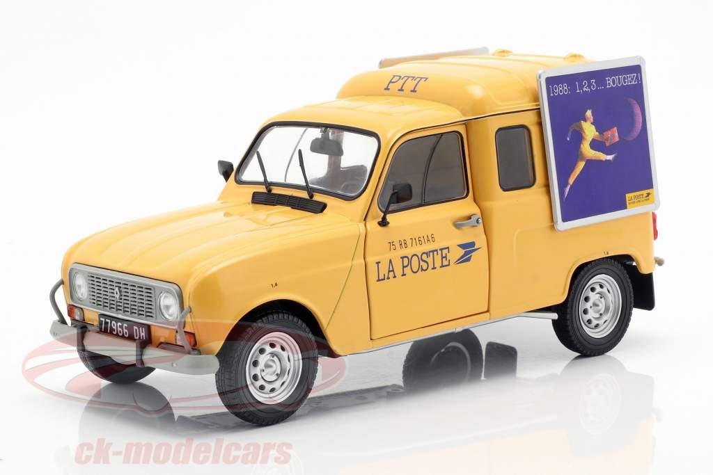 Renault 4LF4 La Poste Bouwjaar 1988 geel 1:18 Solido