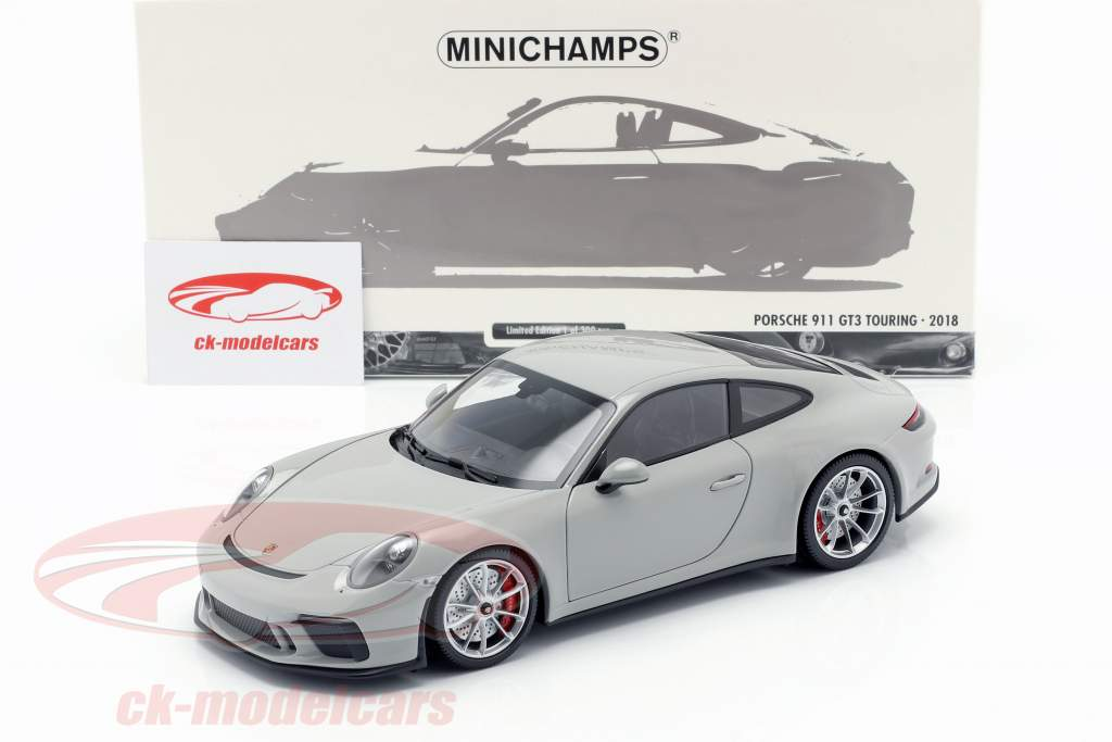 Porsche 911 (991 II) GT3 Touring Bouwjaar 2018 krijt grijs 1:18 Minichamps