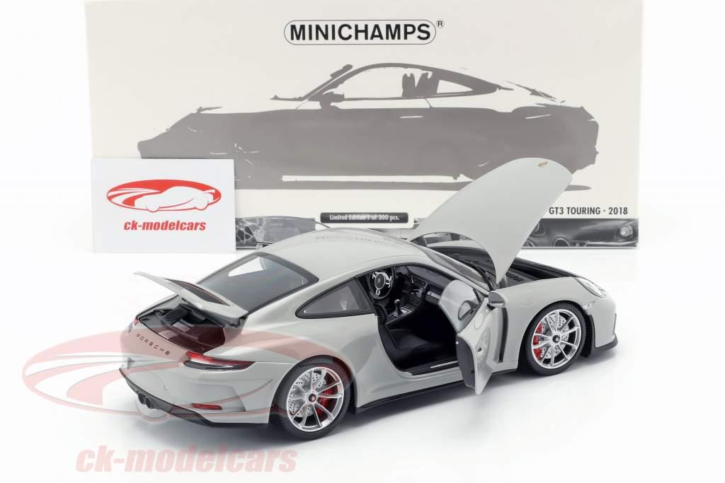 Porsche 911 (991 II) GT3 Touring año de construcción 2018 tiza gris 1:18 Minichamps