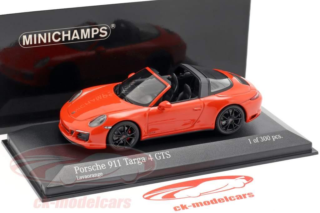 Porsche 911 (991 II) Targa 4 GTS year 2016 lava orange 1:43 Minichamps