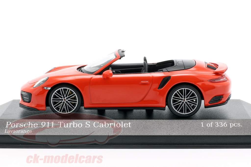 Porsche 911 (991 II) Turbo S Cabriolet year 2016 lava orange 1:43 Minichamps