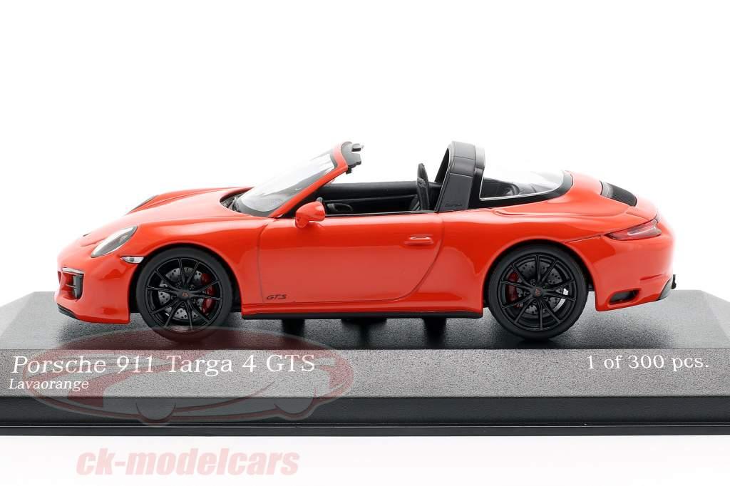 Porsche 911 (991 II) Targa 4 GTS Opførselsår 2016 lava appelsin 1:43 Minichamps