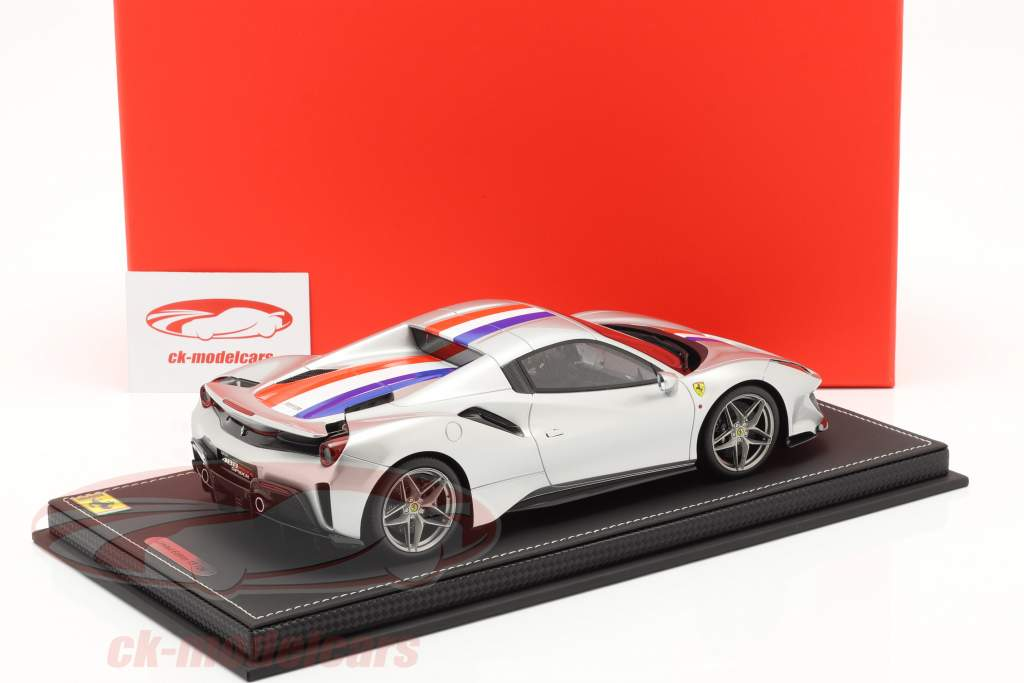 Ferrari 488 Pista Spider Closed Top year 2018 Nürburgring silver 1:18 BBR