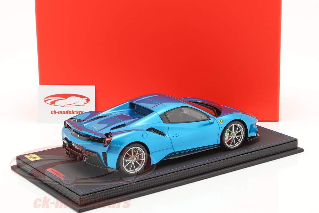 Ferrari 488 Pista Spider Closed Top Bouwjaar 2018 emperor blauw 1:18 BBR