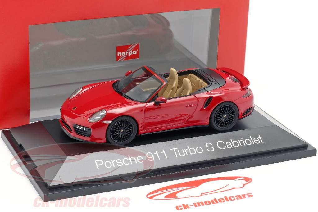 Porsche 911 (991 II) Turbo S cabriolé año de construcción 2016 carmín rojo 1:43 Herpa