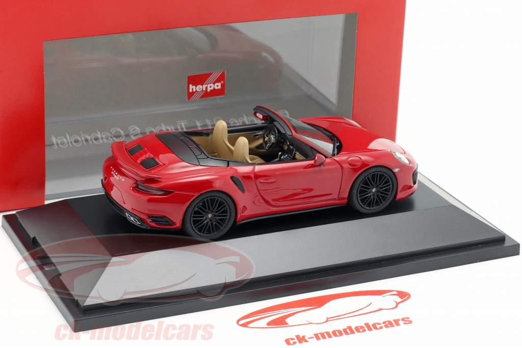 Porsche 911 (991 II) Turbo S Cabriolet Opførselsår 2016 carmin rød 1:43 Herpa