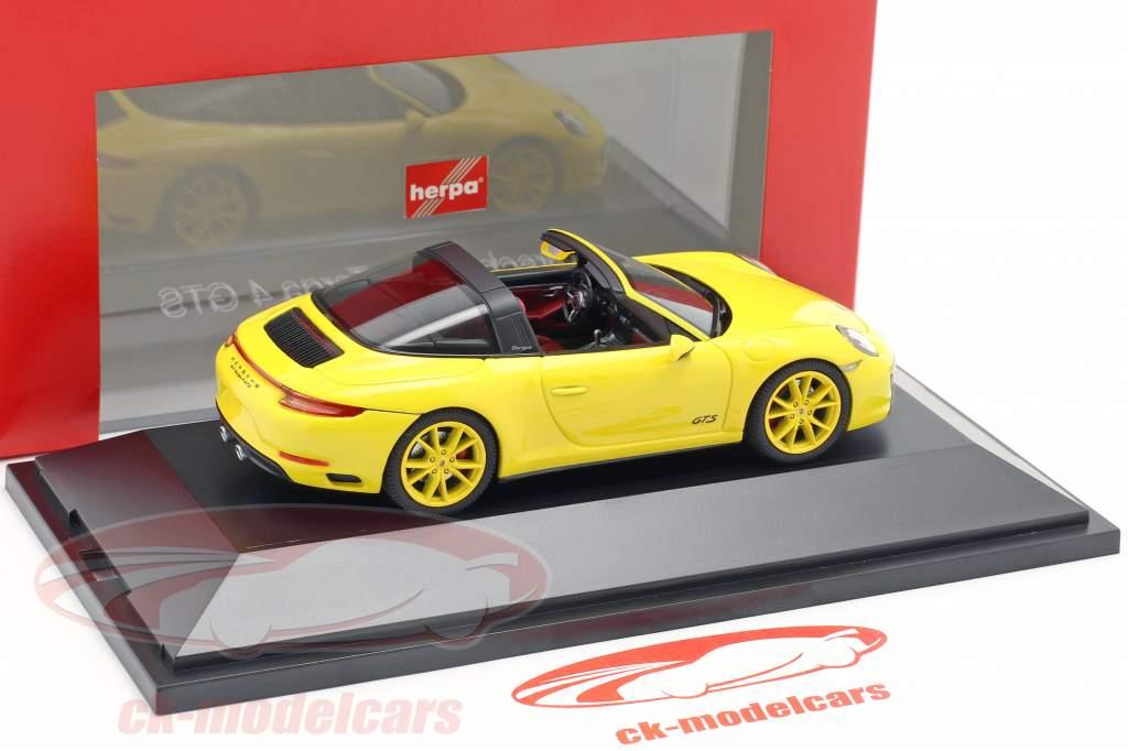 Porsche 911 (991 II) Targa 4 GTS Opførselsår 2016 racing gul 1:43 Herpa