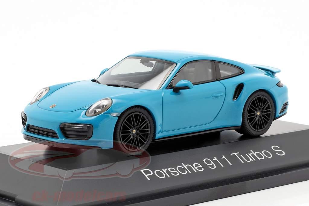 Porsche 911 (991 II) Turbo S año de construcción 2016 Miami azul 1:43 Herpa