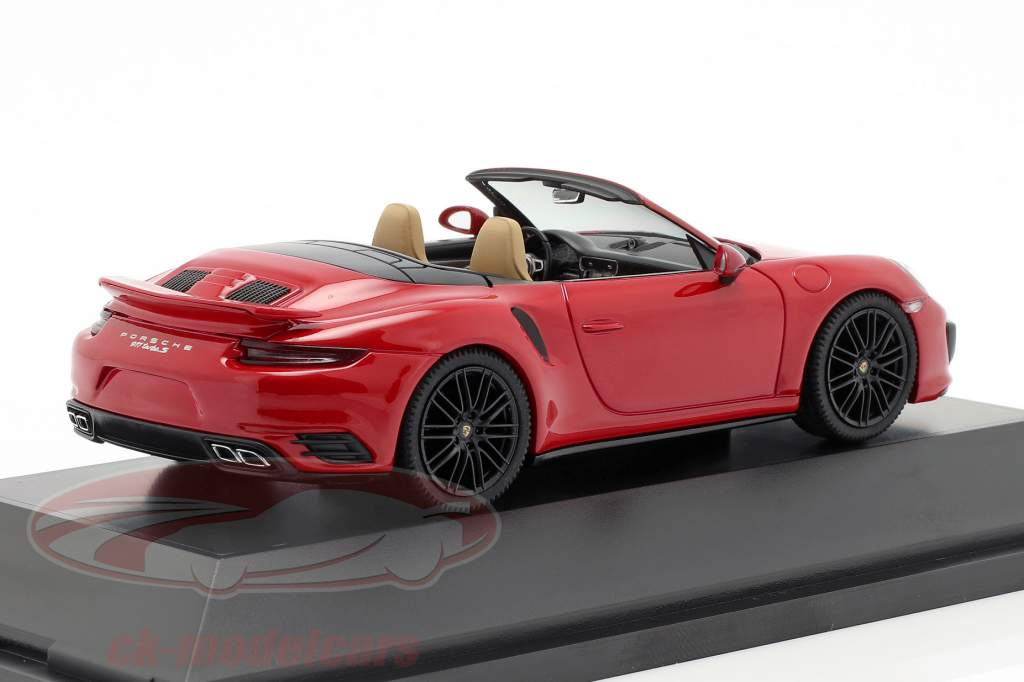 Porsche 911 (991 II) Turbo S Cabriolet Bouwjaar 2016 karmijn rood 1:43 Herpa
