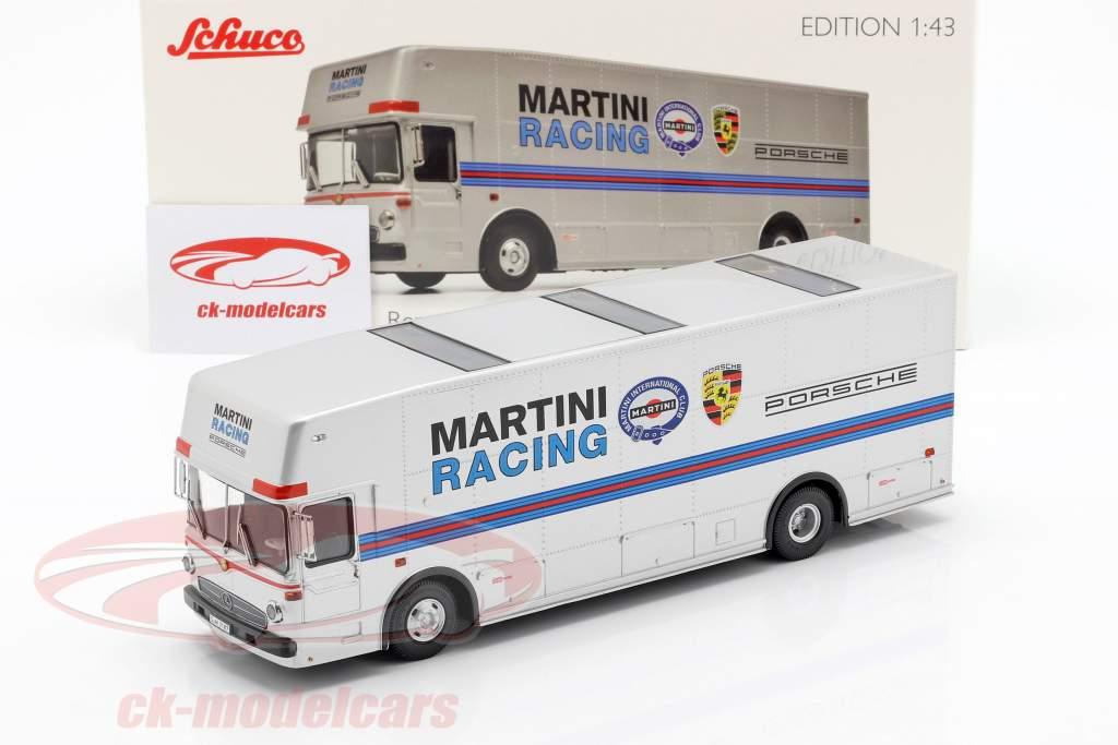 Mercedes-Benz O 317 Renntransporter Porsche Martini Racing silber 1:43 Schuco