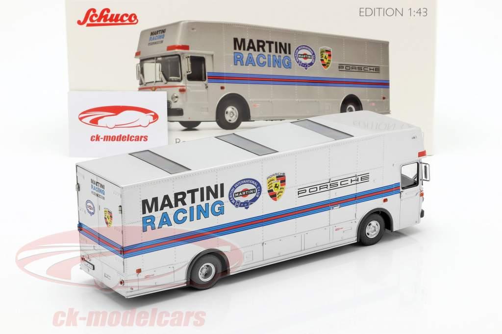 Mercedes-Benz O 317 gara camion Porsche Martini Racing argento 1:43 Schuco