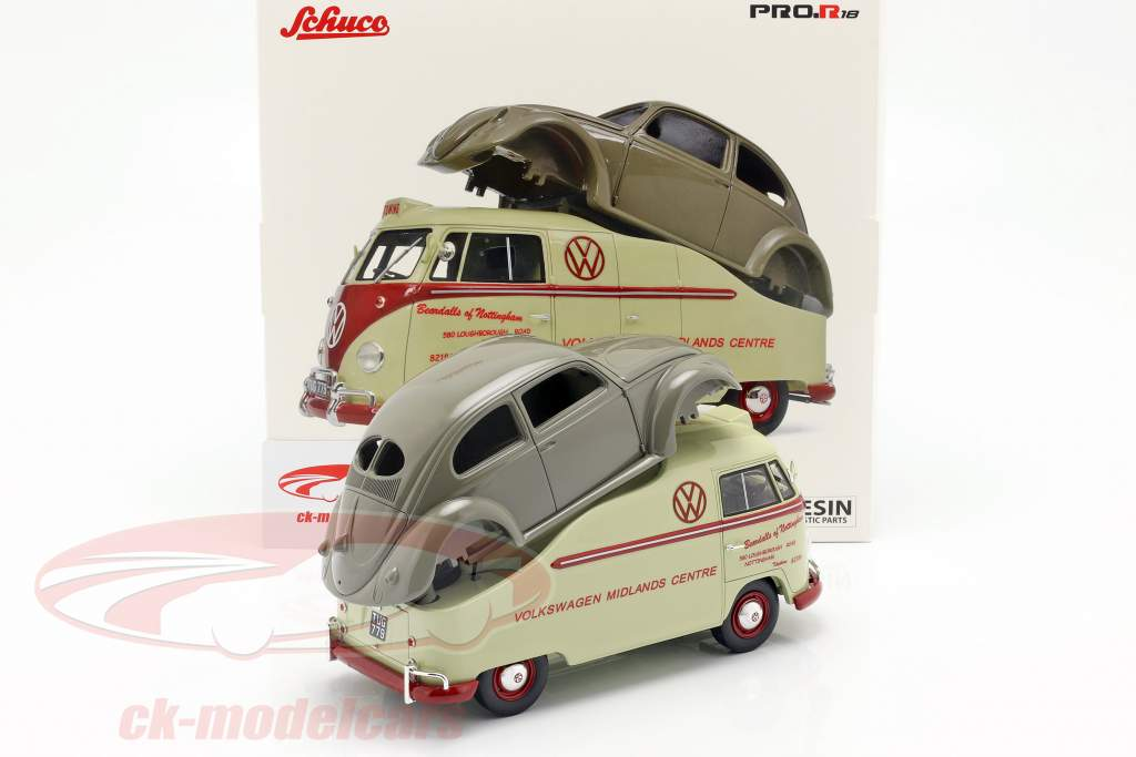 Volkswagen VW T1a Bus med Brezelkäfer krop beige / rød / grå 1:18 Schuco