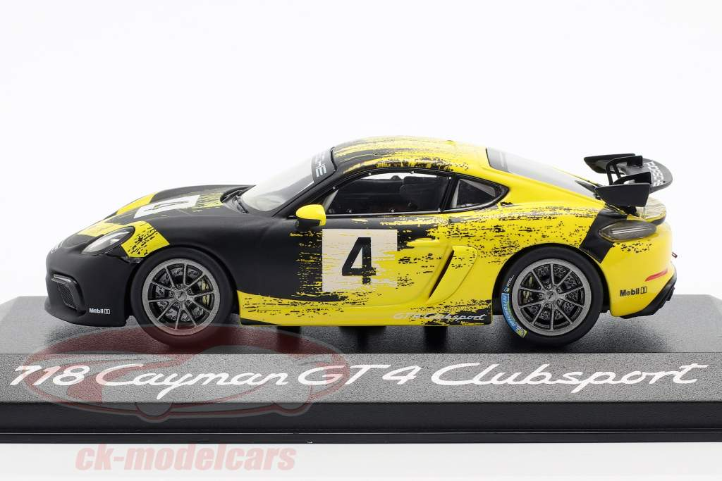 Porsche 718 Cayman GT4 Clubsport 2019 #4 yellow / black 1:43 Minichamps