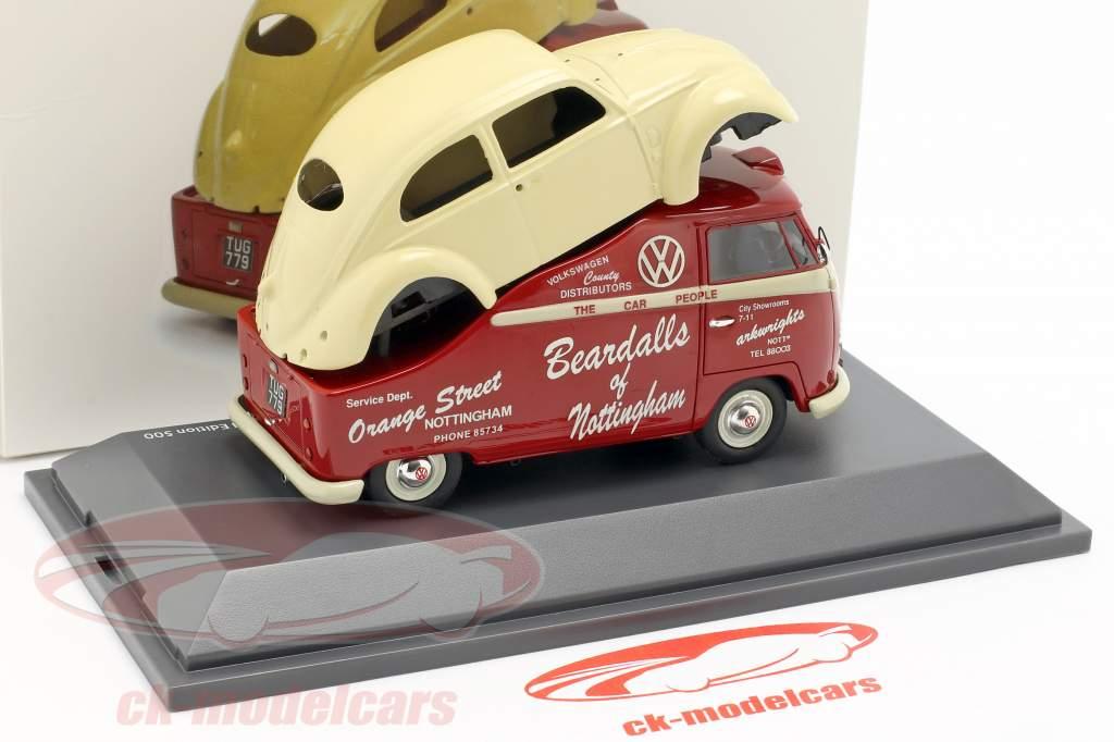Volkswagen VW T1a bus med VW bille krop rød / creme hvid 1:43 Schuco