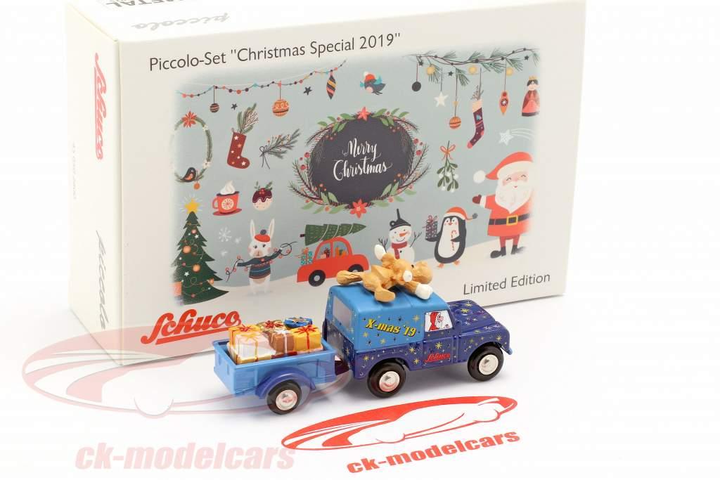 Land Rover met aanhangwagen Christmas Edition 2019 1:90 Schuco Piccolo