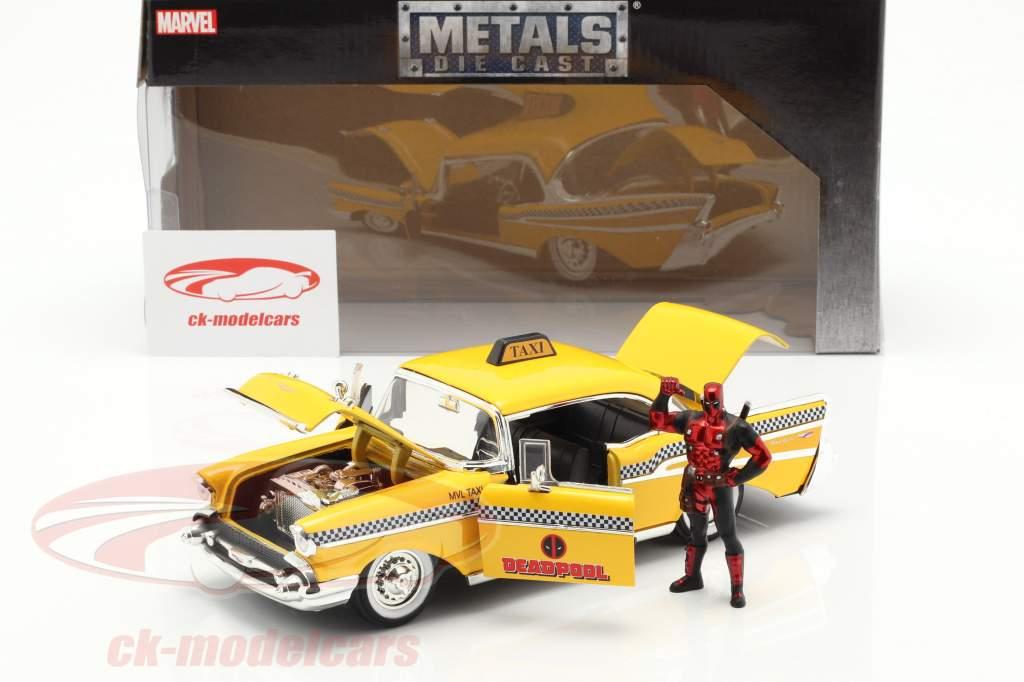 Chevy Bel Air Taxi 1957 con figura película Deadpool (2016) amarillo 1:24 Jada Toys