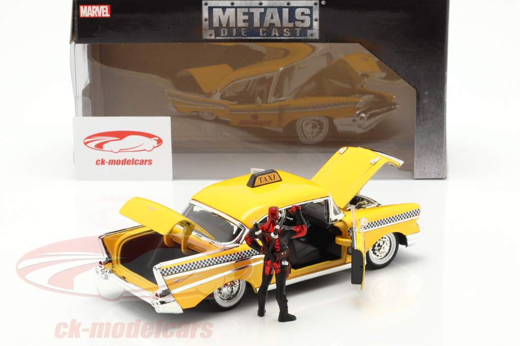 Chevy Bel Air Taxi 1957 with figure Movie Deadpool (2016) yellow 1:24 Jada Toys