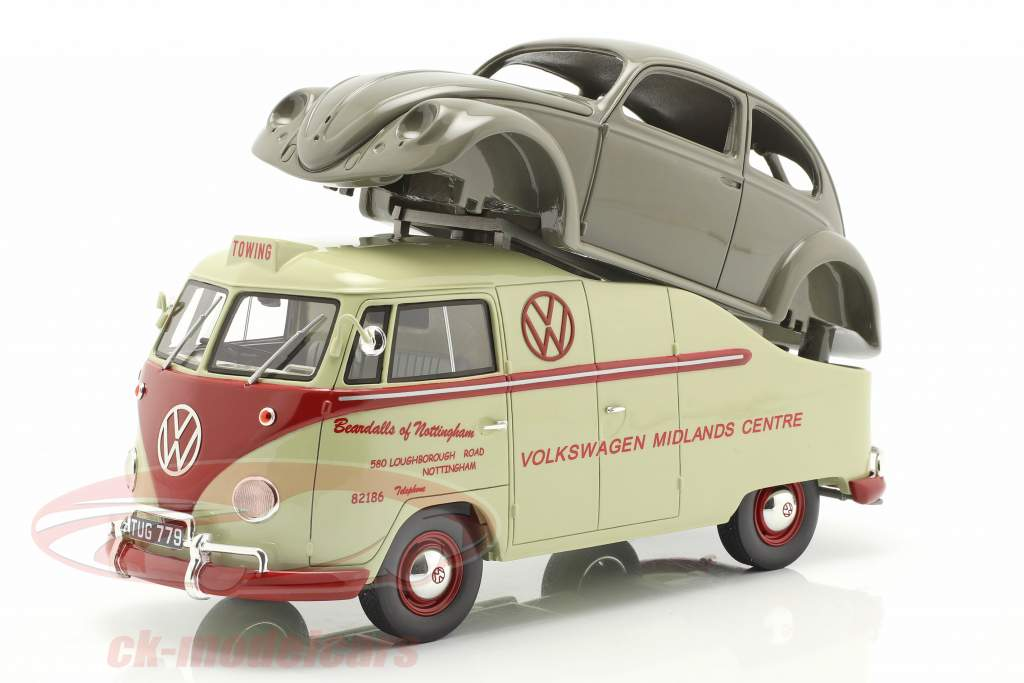 Volkswagen VW T1a Bus avec Brezelkäfer corps beige / rouge / gris 1:18 Schuco
