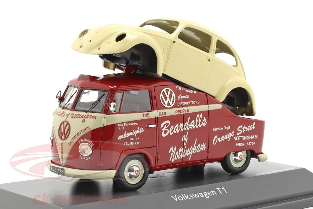 Volkswagen VW T1a autobús con VW escarabajo cuerpo rojo / crema blanco 1:43 Schuco
