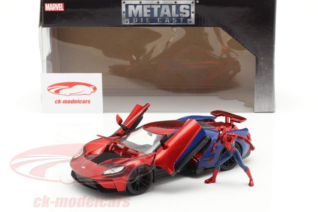 Ford GT 2017 mit Figur Film Spider-Man (2017) rot / blau 1:24 Jada Toys