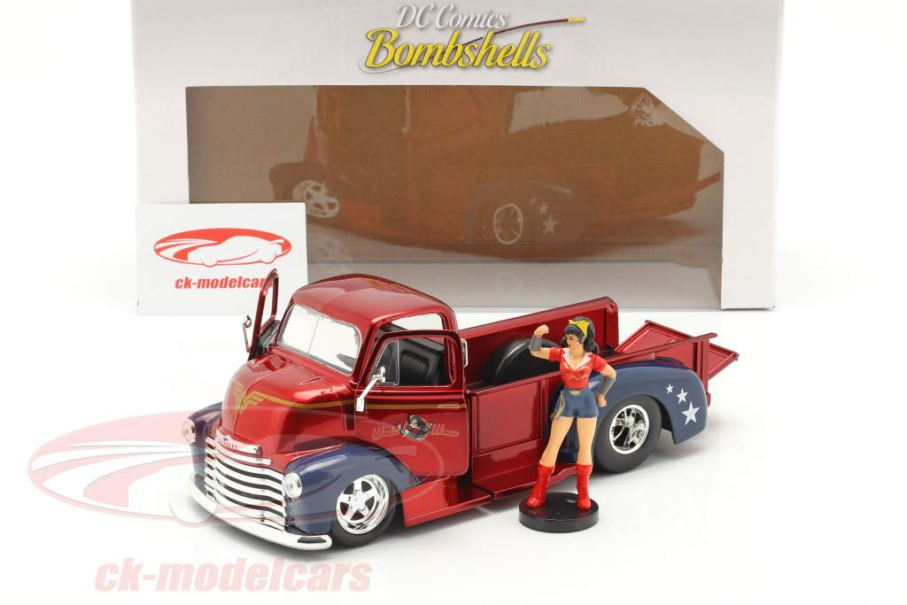Chevy Coe Pick-Up 1952 met figuur Wonder Woman DC Comics 1:24 Jada Toys