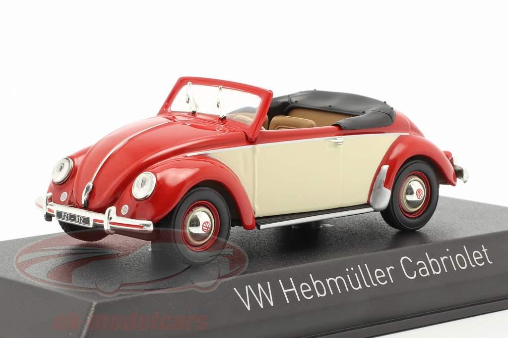 Volkswagen VW Hebmüller Cabriolet Bouwjaar 1949 rood / crème wit 1:43 Norev