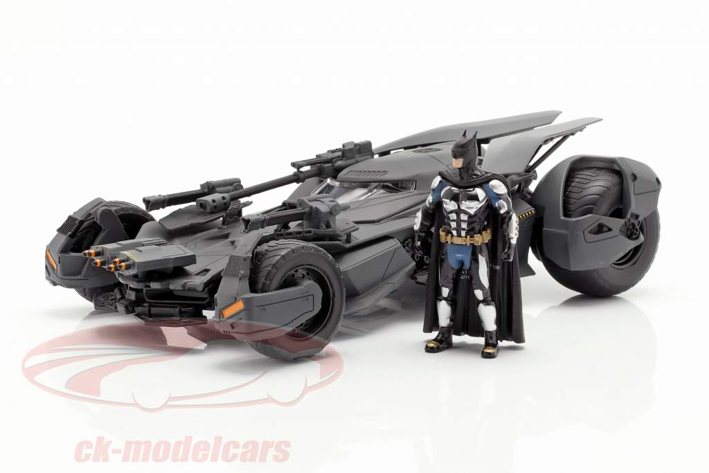 Batmobile met Batman figuur film Justice League (2017) grijs 1:24 Jada Toys