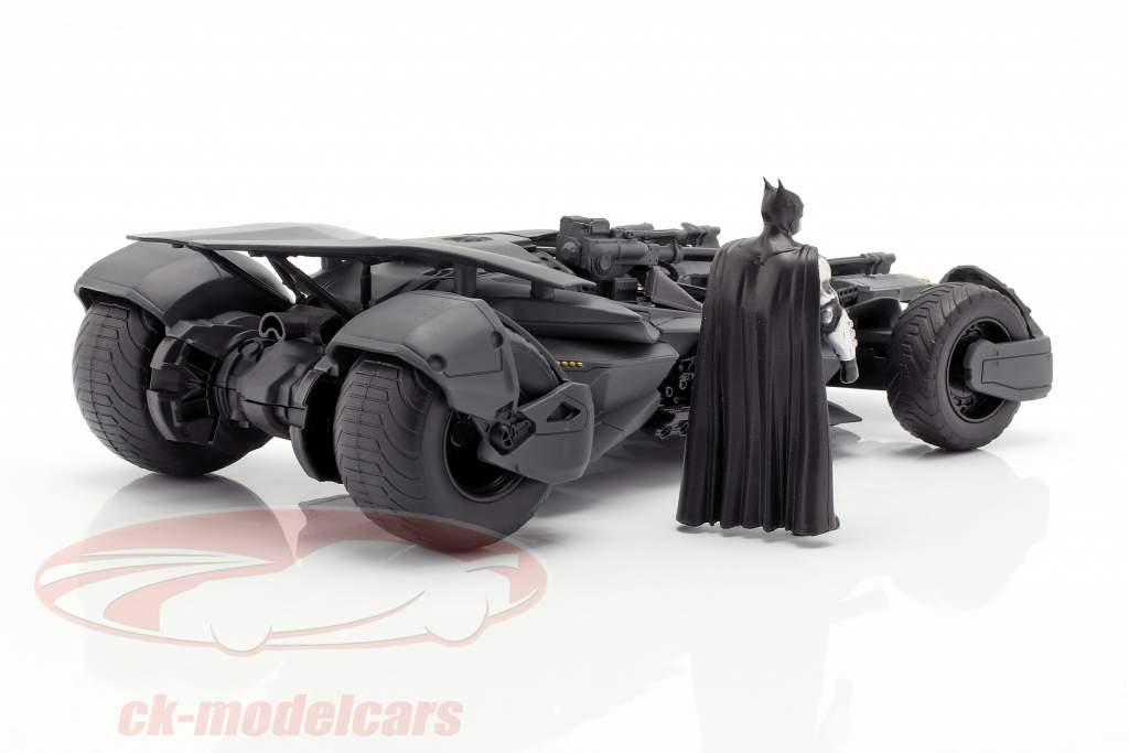 Batmobile mit Batman Figur Film Justice League (2017) grau 1:24 Jada Toys
