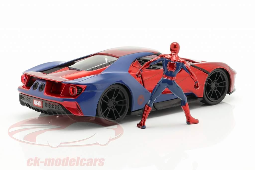 Ford GT 2017 avec figure film Spider-Man (2017) rouge / bleu 1:24 Jada Toys