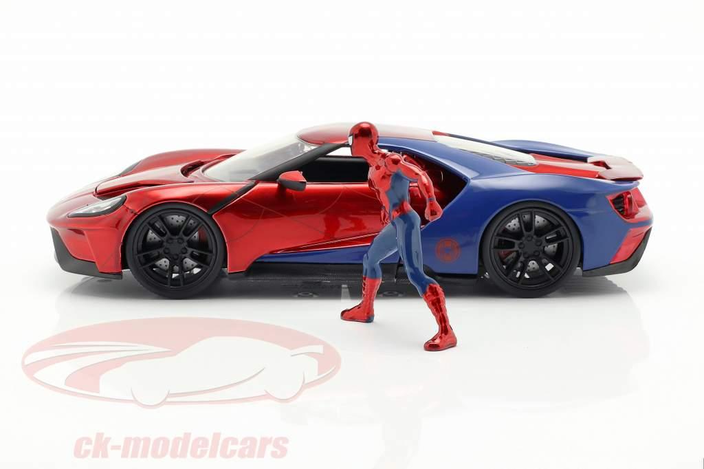 Ford GT 2017 com figura filme Spider-Man (2017) vermelho / azul 1:24 Jada Toys