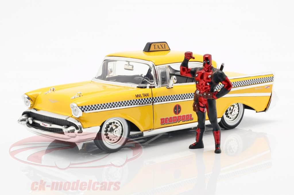 Chevy Bel Air Taxi 1957 med figur film Deadpool (2016) gul 1:24 Jada Toys