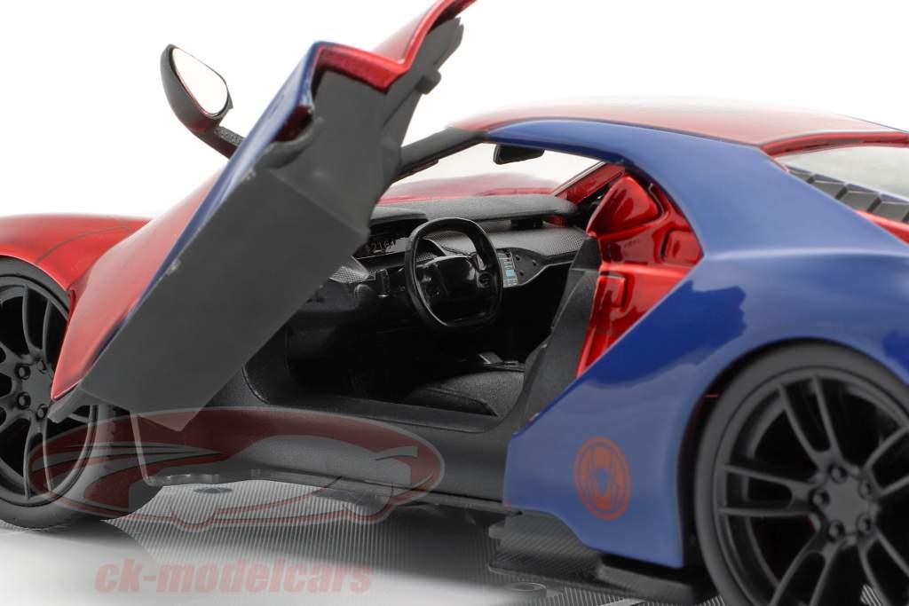 Ford GT 2017 met figuur film Spider-Man (2017) rood / blauw 1:24 Jada Toys