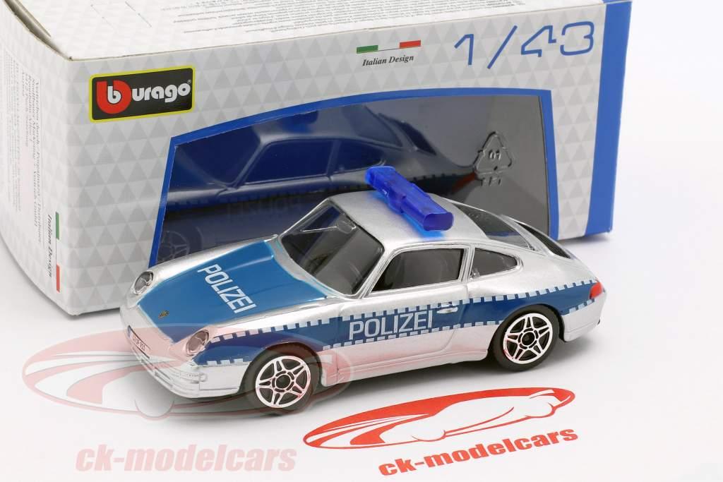 Porsche 911 Carrera politie zilver / blauw 1:43 Bburago
