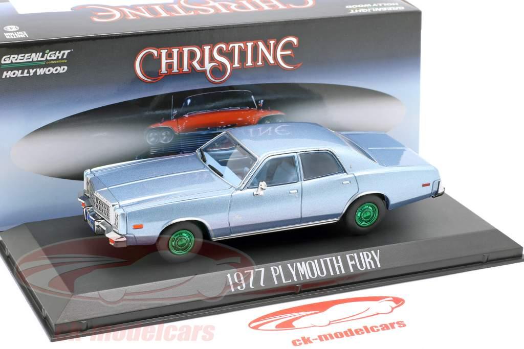Plymouth Fury 1977 film Christine (1983) lyseblå metallisk / grøn 1:43 Greenlight
