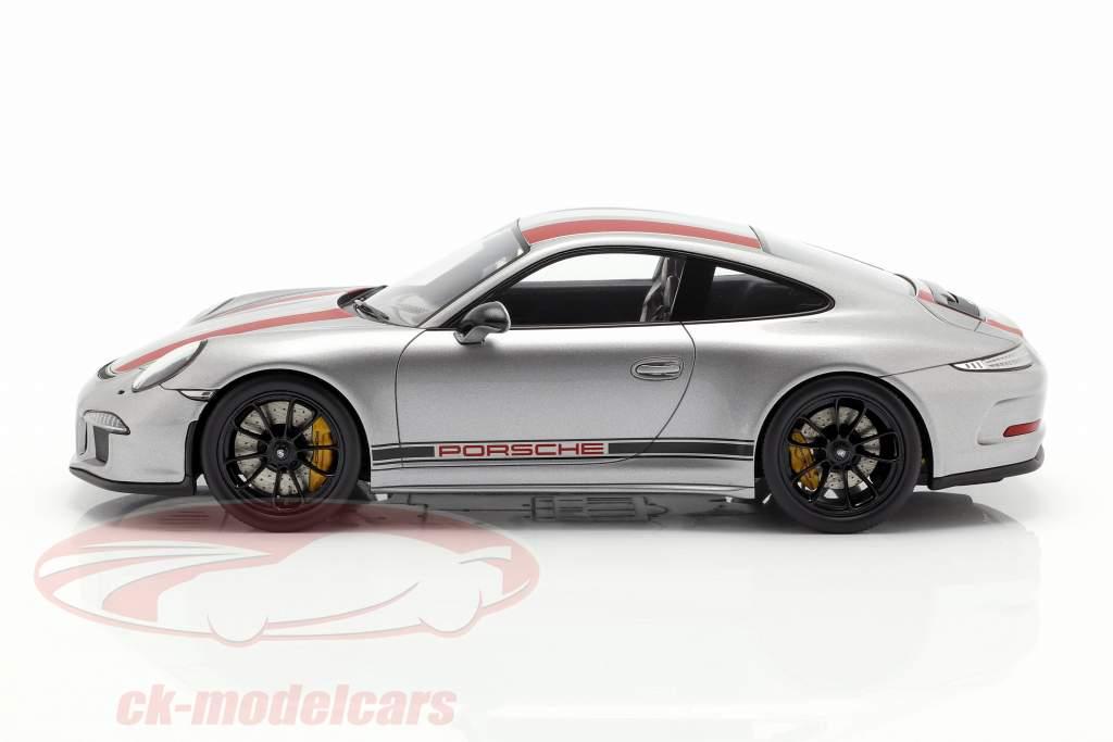 Porsche 911 (991) R year 2016 silver / red with showcase 1:18 Spark