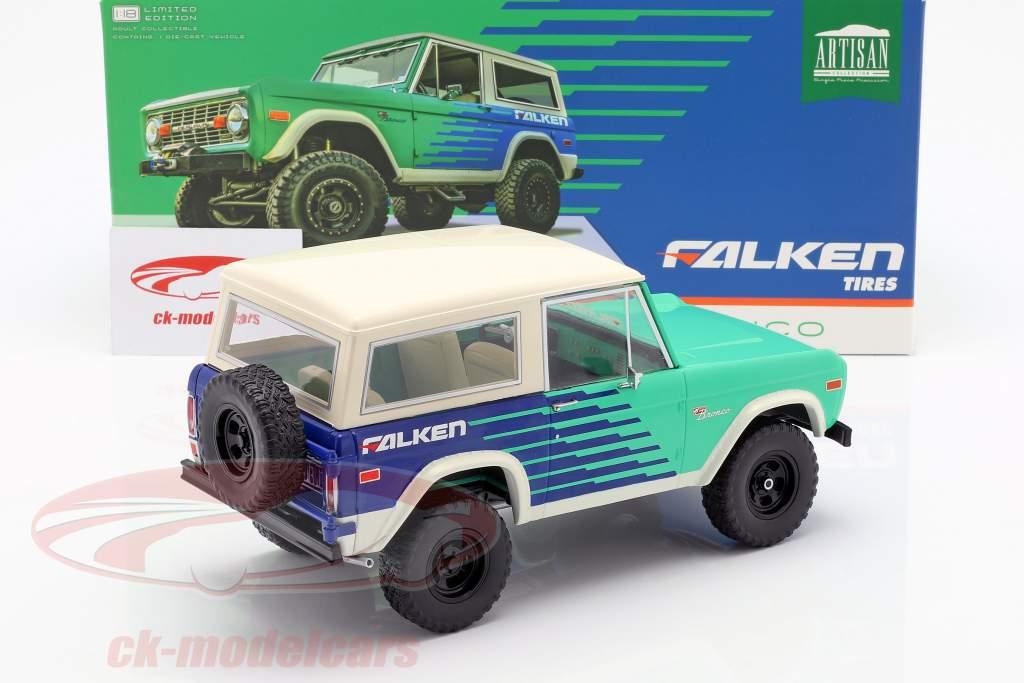 Ford Bronco Falken Tires anno di costruzione 1976 verde / blu / bianco 1:18 Greenlight
