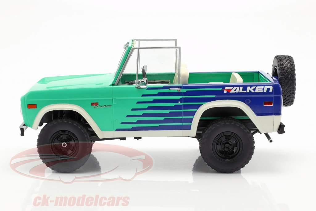 Ford Bronco Falken Tires año de construcción 1976 verde / azul / blanco 1:18 Greenlight