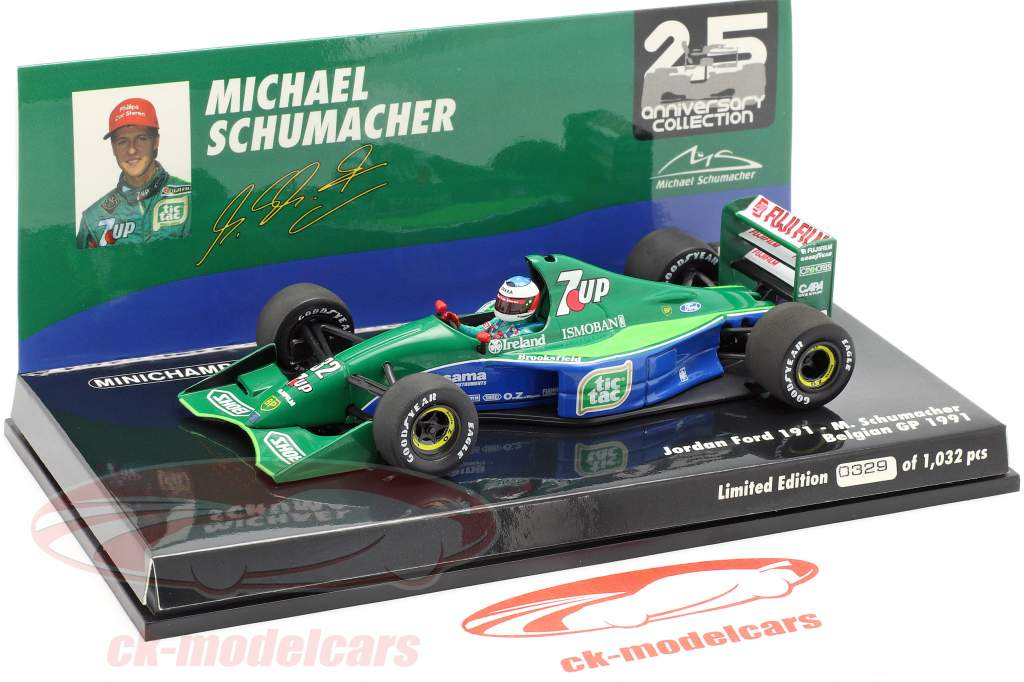 M. Schumacher Jordan 191 #32 F1 Debut Belgian GP Spa 1991 1:43 Minichamps