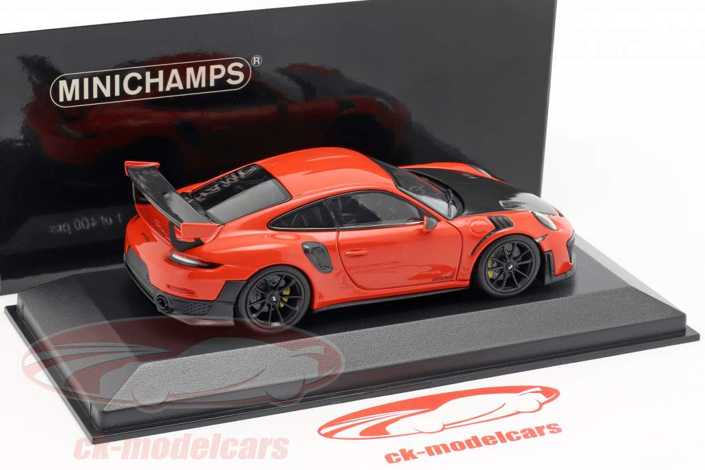 Porsche 911 (991 II) GT2 RS Bouwjaar 2018 lava oranje 1:43 Minichamps