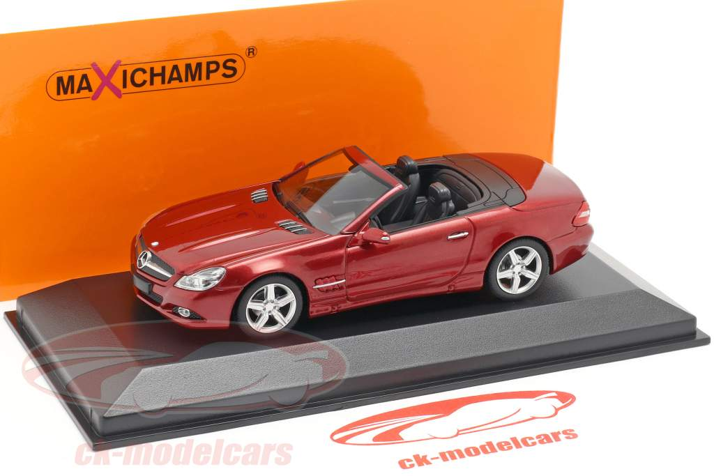 Mercedes-Benz SL-klasse (R230) Opførselsår 2008 rød metallisk 1:43 Minichamps