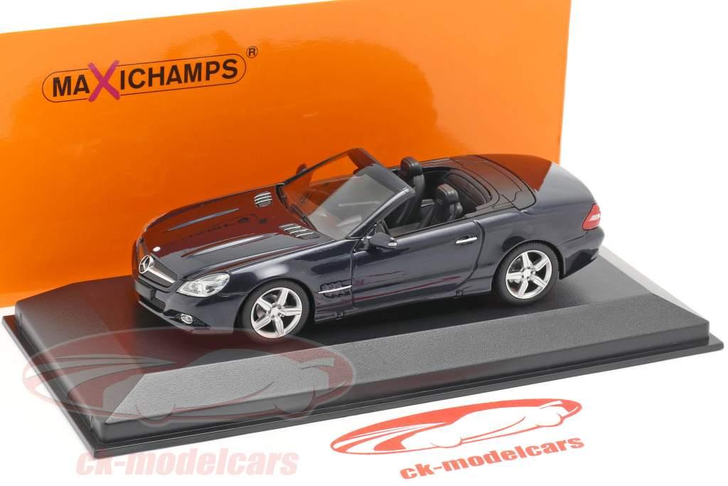 Mercedes-Benz SL-Class (R230) année de construction 2008 bleu foncé métallique 1:43 Minichamps