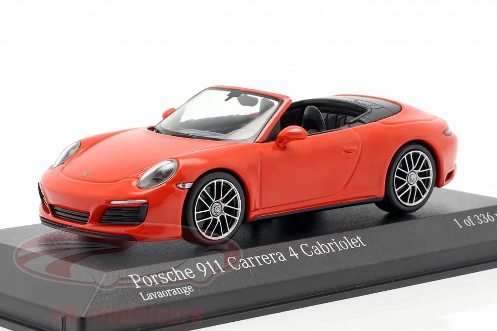 Porsche 911 (991 II) Carrera 4 Cabriolet 2016 lava appelsin 1:43 Minichamps