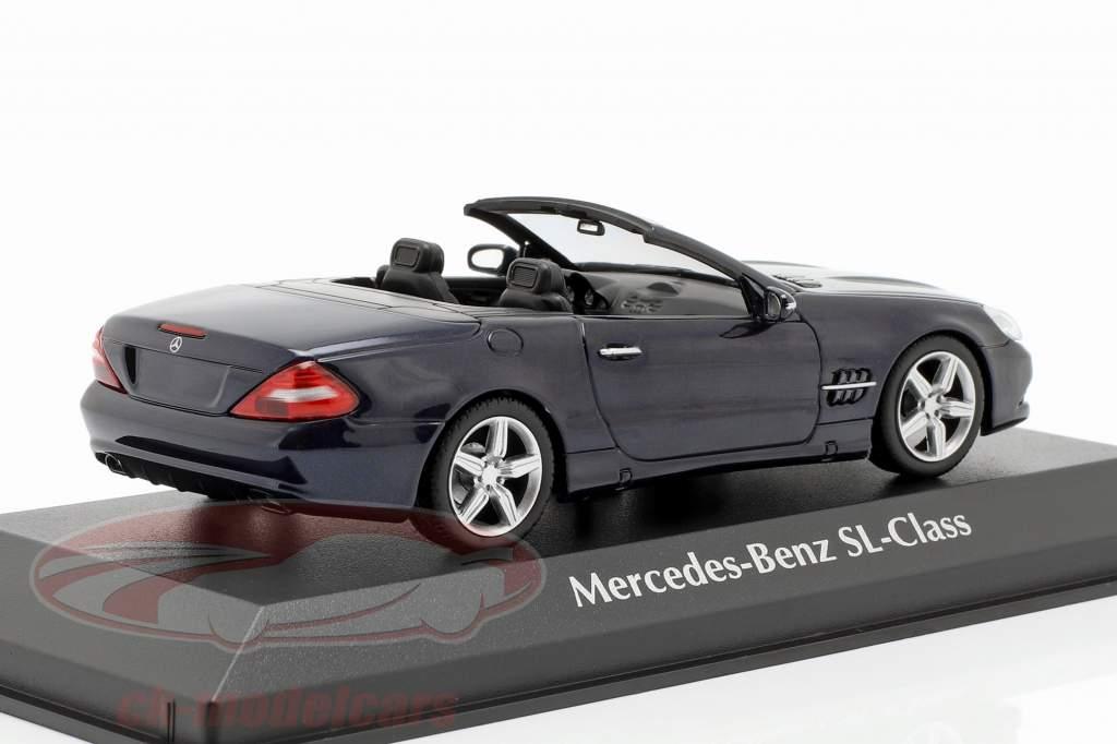 Mercedes-Benz Classe SL (R230) ano de construção 2008 azul escuro metálico 1:43 Minichamps