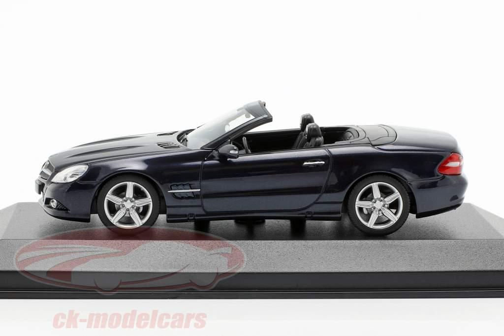 Mercedes-Benz Clase SL (R230) año de construcción 2008 azul oscuro metálico 1:43 Minichamps